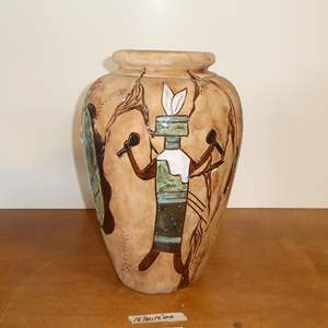 Lot # 100 - Large Southwestern Hand Painted Pottery Vase By Noted Artist Janet Haefner