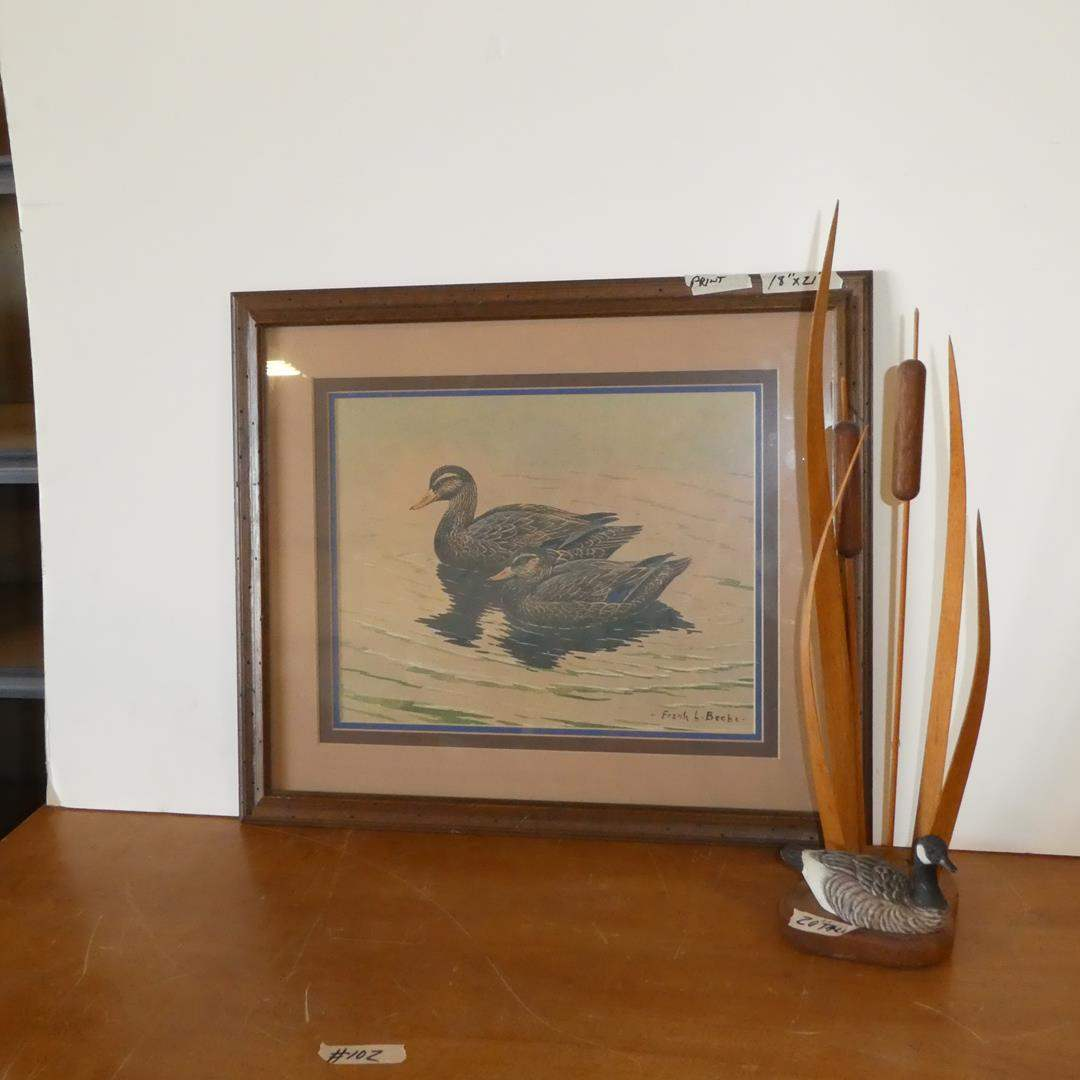 Lot # 102 - Framed Duck Print by Frank L. Beebe & Signed Duck w/Cattails Sculpture by Buddy Wolff (main image)