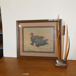 Lot # 102 - Framed Duck Print by Frank L. Beebe & Signed Duck w/Cattails Sculpture by Buddy Wolff