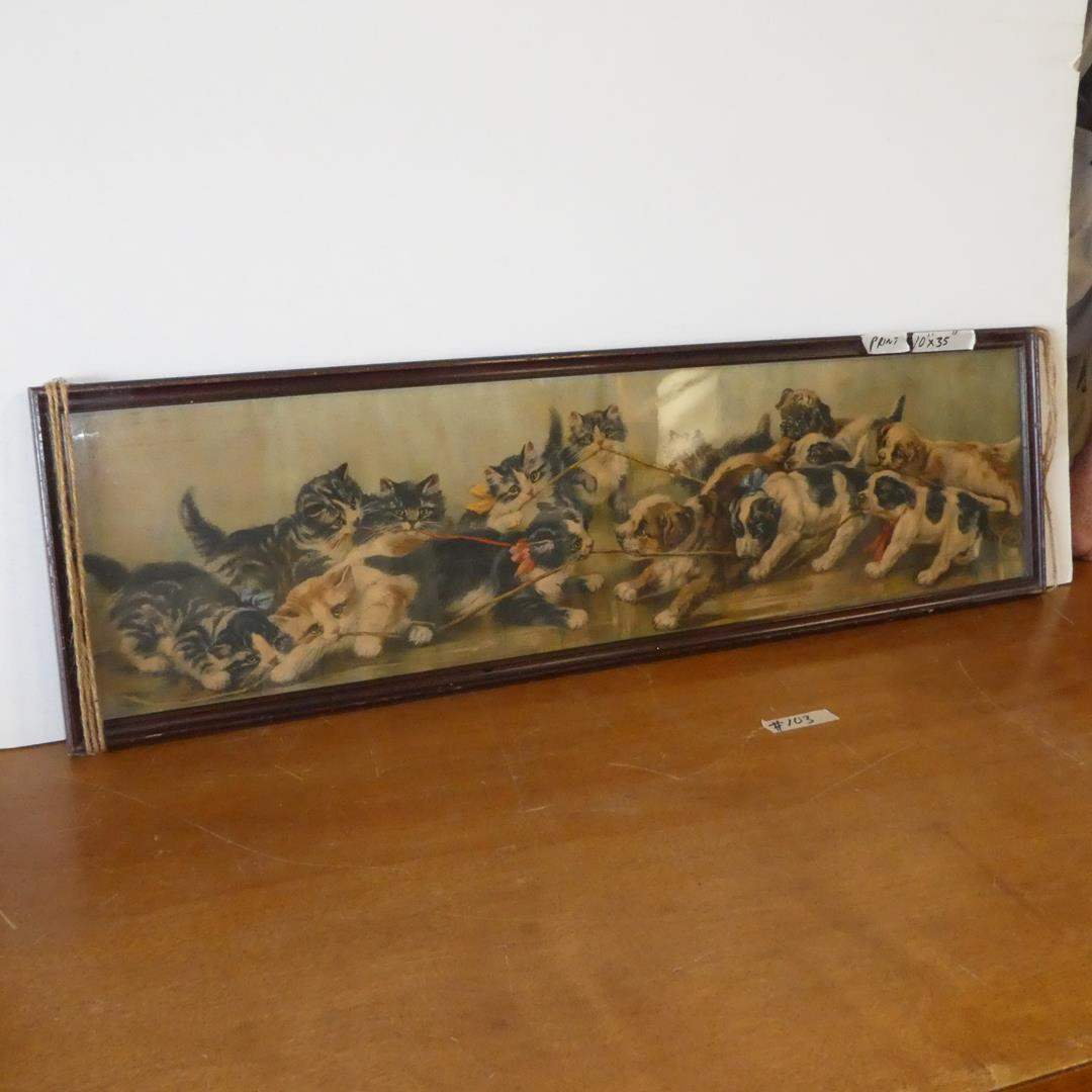"""Lot # 103 - Framed Vintage Panoramic Print """"The Tug Of War"""" Kittens & Puppies (main image)"""