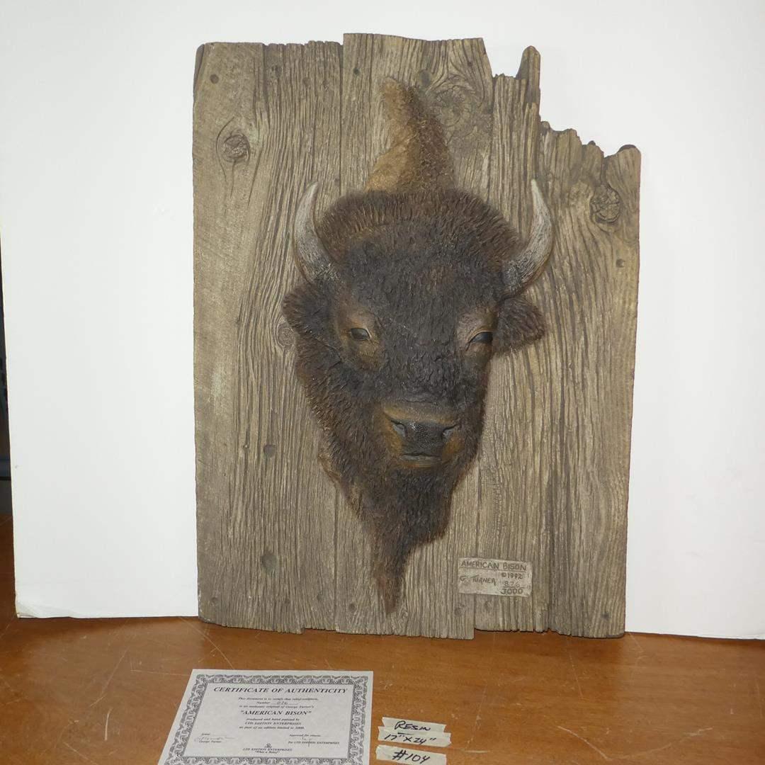 "Lot # 104 - Vintage 1992 Authentic Original George Turner's Relief Sculpture ""American Bison"" 876/3000 (main image)"