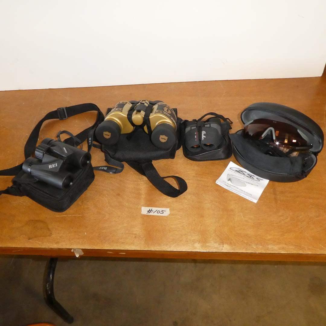 Lot # 105 - REI Binoculars, CCPOA Binoculars, Binolux Binoculars & ESS Ice Eyeshields w/Extra Lenses (main image)