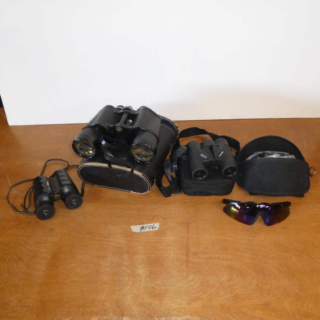 Lot # 106 - Nikon, Manon & REI Binoculars & WileyX Eyewear w/Extra Lenses (main image)