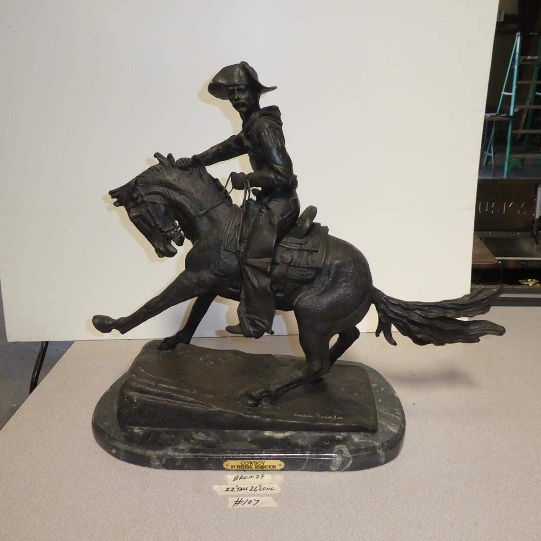 """Lot # 107 - Large Bronze """"Cowboy"""" Sculpture by Frederic Remington (main image)"""