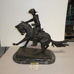 """Lot # 107 - Large Bronze """"Cowboy"""" Sculpture by Frederic Remington"""
