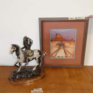 Auction Thumbnail for: Lot # 109 - J. T. Burnell Resin Native American Sculpture & Framed Signed Southwestern Print
