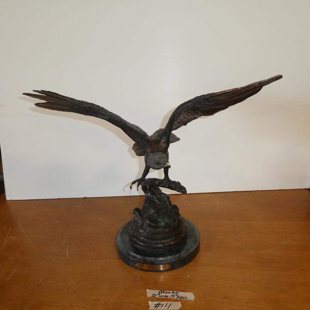 """Lot # 111 - Bronze """"Strength and Honor"""" Eagle Sculpture (main image)"""