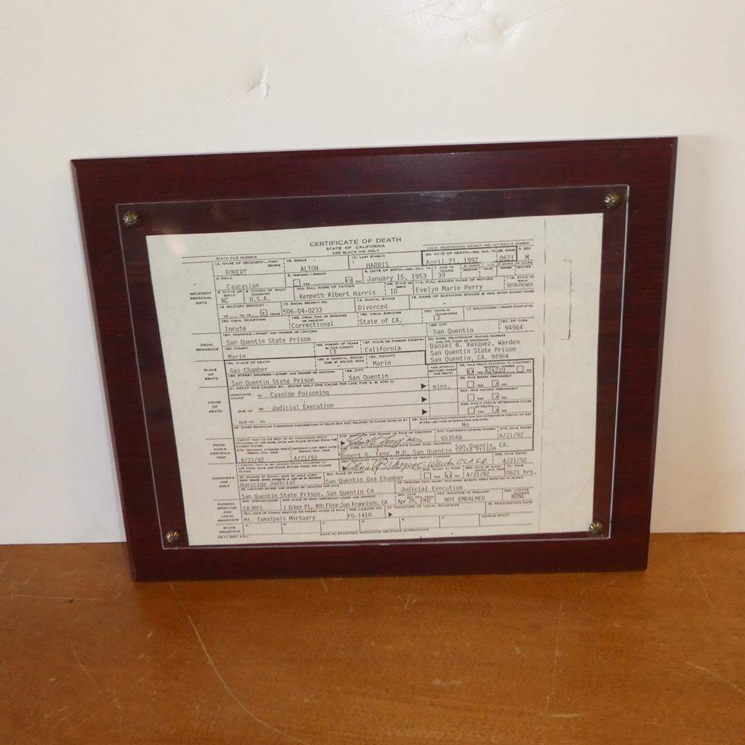 Lot # 112 - Framed San Quentin State Prison Certificate of Death - Judicial Execution 1992 (main image)