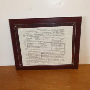 Lot # 112 - Framed San Quentin State Prison Certificate of Death - Judicial Execution 1992
