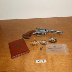 Lot # 113 - Western Replica Revolver, Badges & Leather Stetson Passport Wallet