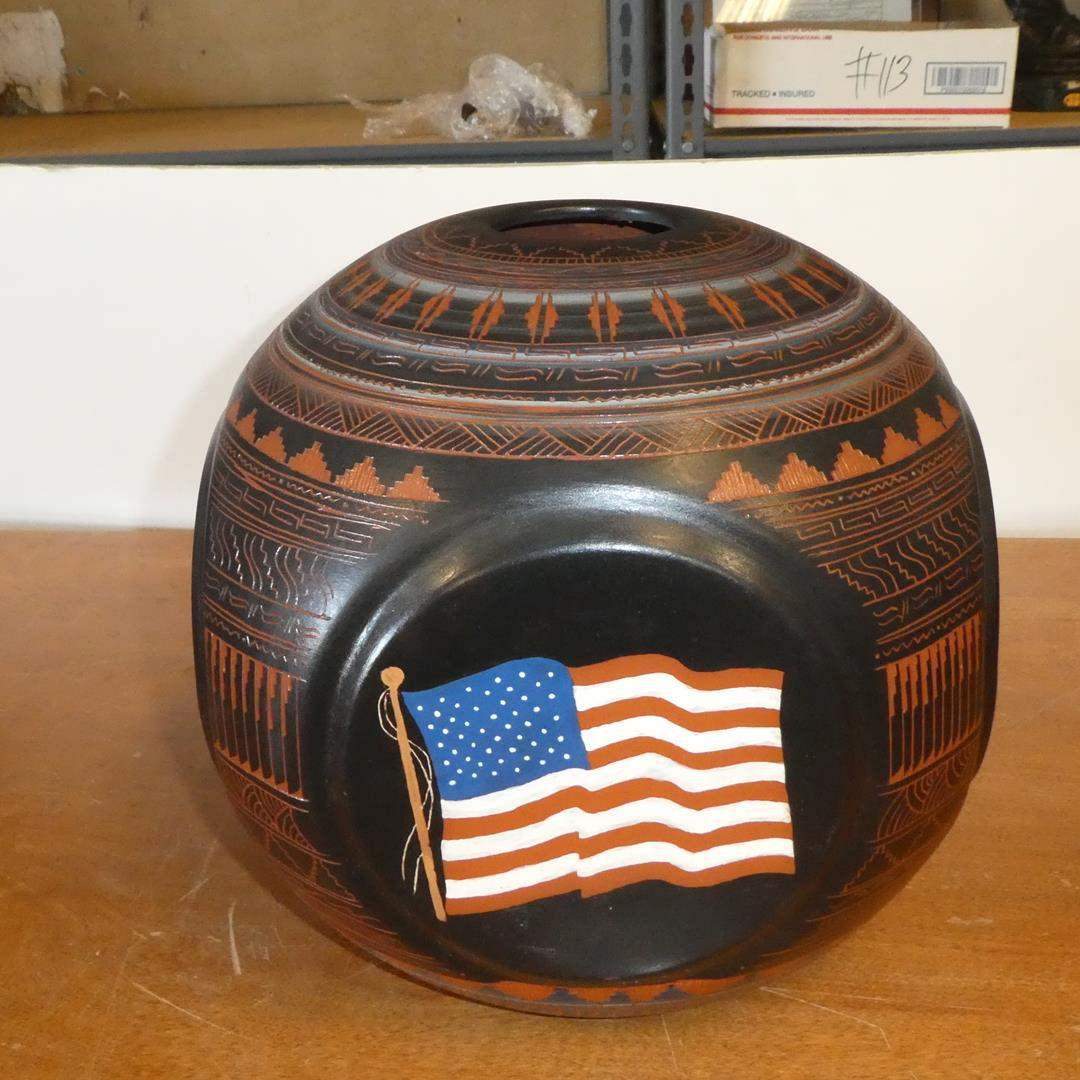 """Lot # 114 - Large Signed Navajo Pottery Vase by Johnson """"America The Beautiful United We Stand"""" (main image)"""