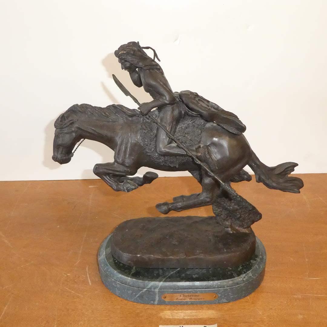 "Lot # 115 - Frederic Remington ""Cheyenne"" Bronze Sculpture (main image)"