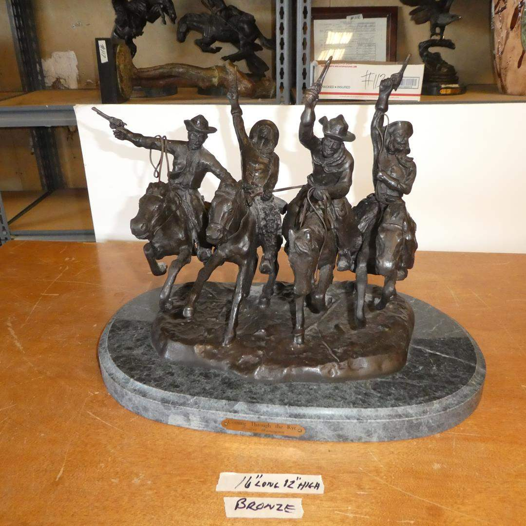 """Lot # 118 - Frederic Remington """"Coming Through the Rye"""" Bronze Sculpture (main image)"""