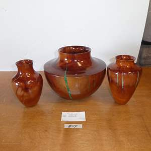 Lot # 119 - Three Beautiful Handcrafted African Sumac Wood w/Turquoise Stone Vases - Tempe Az.