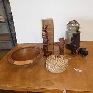 Lot # 121 - Signed Joe McAteer Wood Bowl, Handcrafted Pine Needle Basket, PNW Totem Pole Sculptures & Signed Pottery Canister