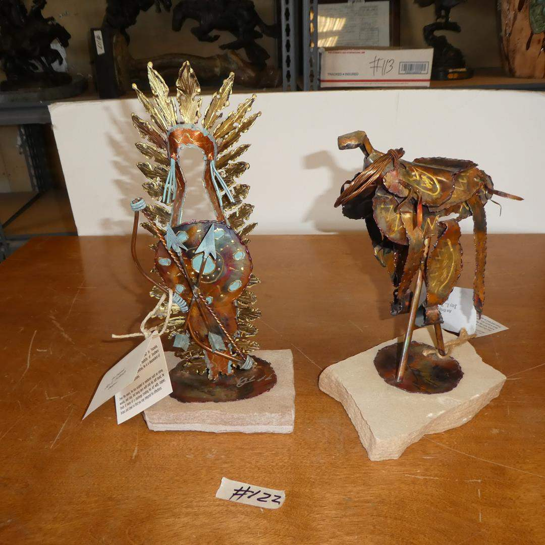 Lot # 122 - Two Original Jay L. Tschudy (Blackfoot Native American) Copper, Brass & Steel Sculptures (main image)