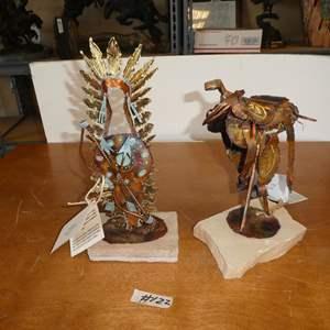 Lot # 122 - Two Original Jay L. Tschudy (Blackfoot Native American) Copper, Brass & Steel Sculptures