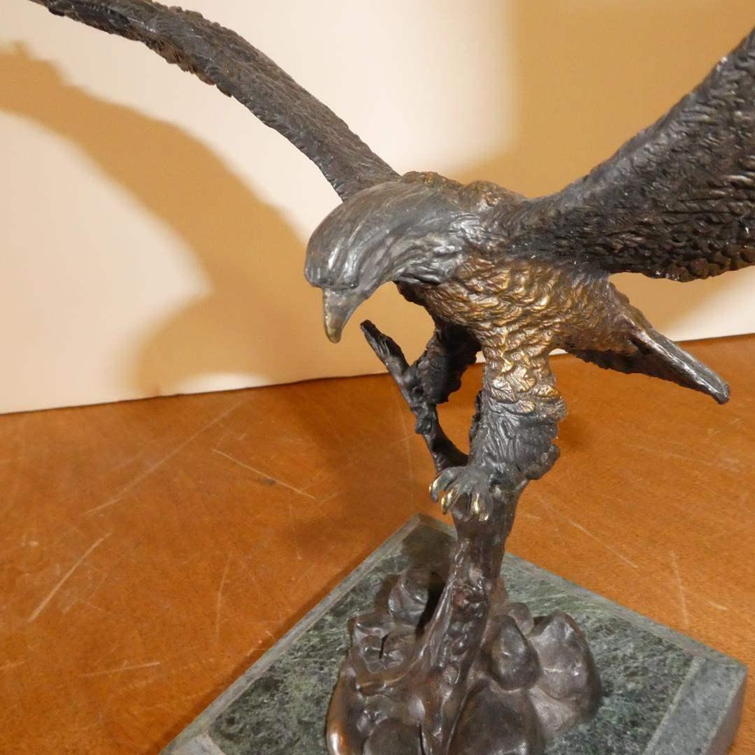 "Lot # 123 - Bronze Sculpture ""Approaching Eagle"" (main image)"
