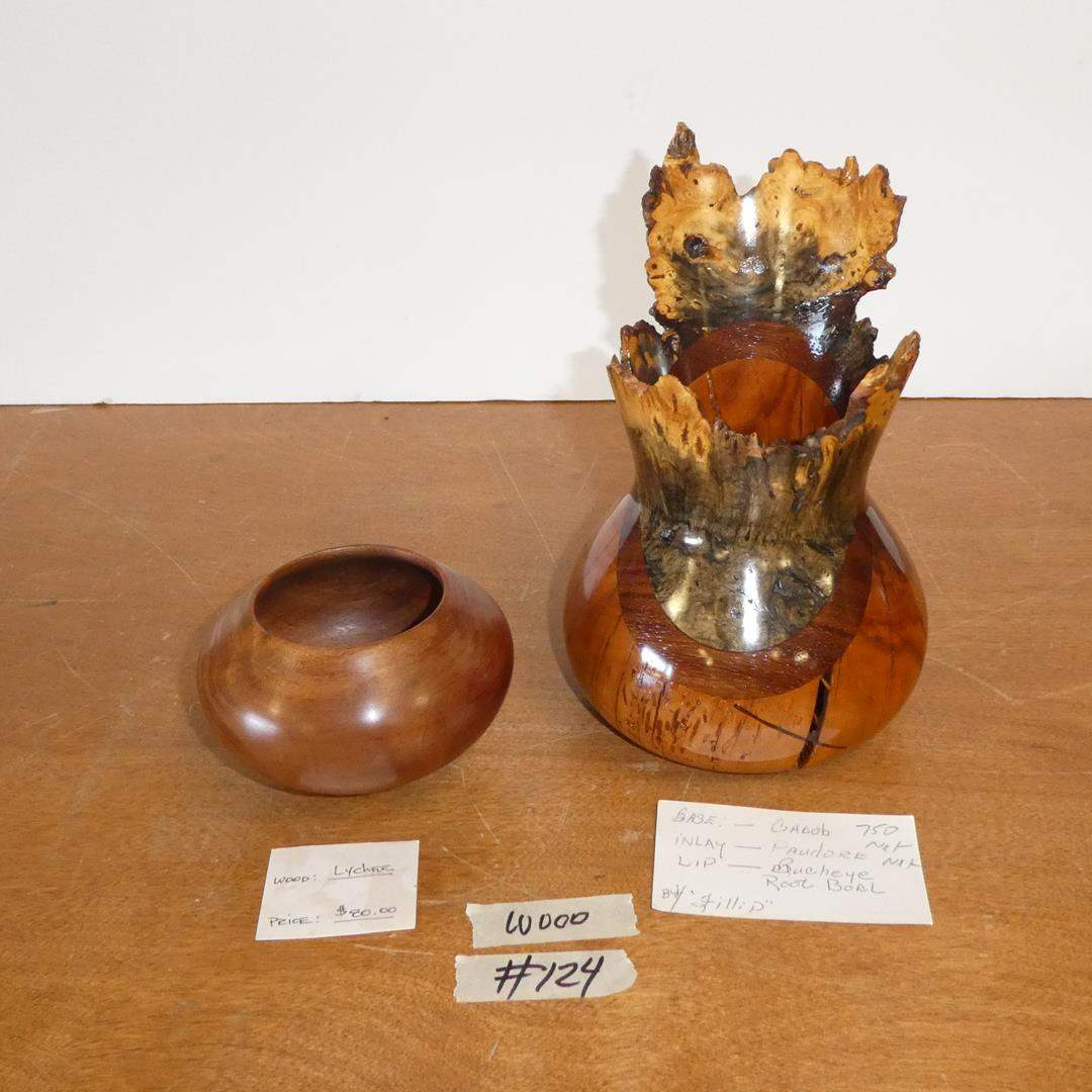 Lot # 124 - Handcrafted Lychee Wood Bowl Francisco Clemente & Handcrafted Vase w/Multiple Woods by Fillip (main image)