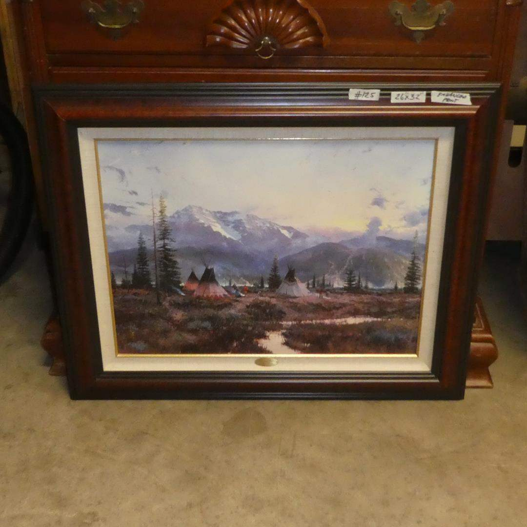 """Lot # 125 - Framed Signed Numbered Hand Highlighted Limited Edition Lithograph on Canvas """"Days of Peace"""" by Thomas Kinkade  (main image)"""