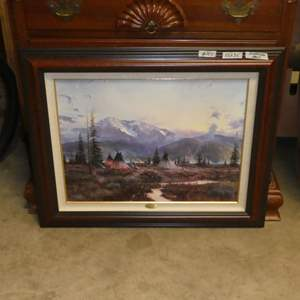 """Lot # 125 - Framed Signed Numbered Hand Highlighted Limited Edition Lithograph on Canvas """"Days of Peace"""" by Thomas Kinkade"""