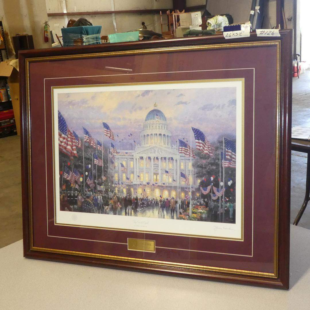 """Lot # 126 - """"Flags Over The Capitol"""" Framed Signed Print by Thomas Kinkade (main image)"""