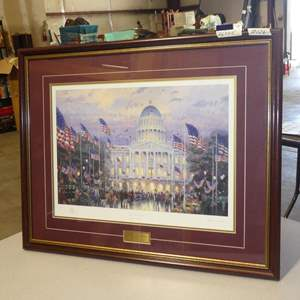 """Lot # 126 - """"Flags Over The Capitol"""" Framed Signed Print by Thomas Kinkade"""