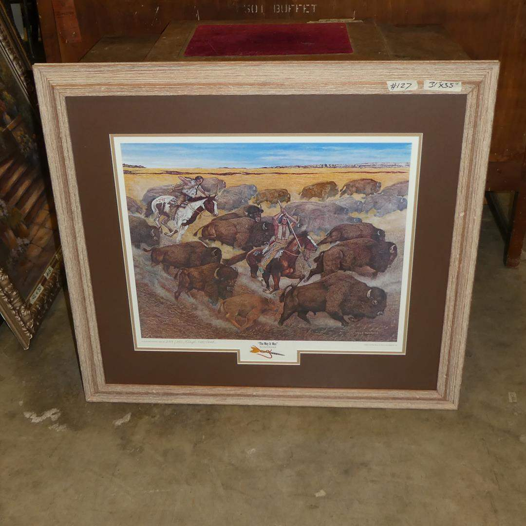 """Lot # 127 - Framed Signed Numbered Limited Edition Print """"The Way It Was"""" by Lloyd Hovland 249/350 (main image)"""