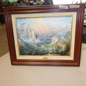 """Lot # 129 - Framed Print """"Yosemite Valley"""" by Thomas Kinkade Edition 1 In 1999 w/Certificate of Authenticity"""