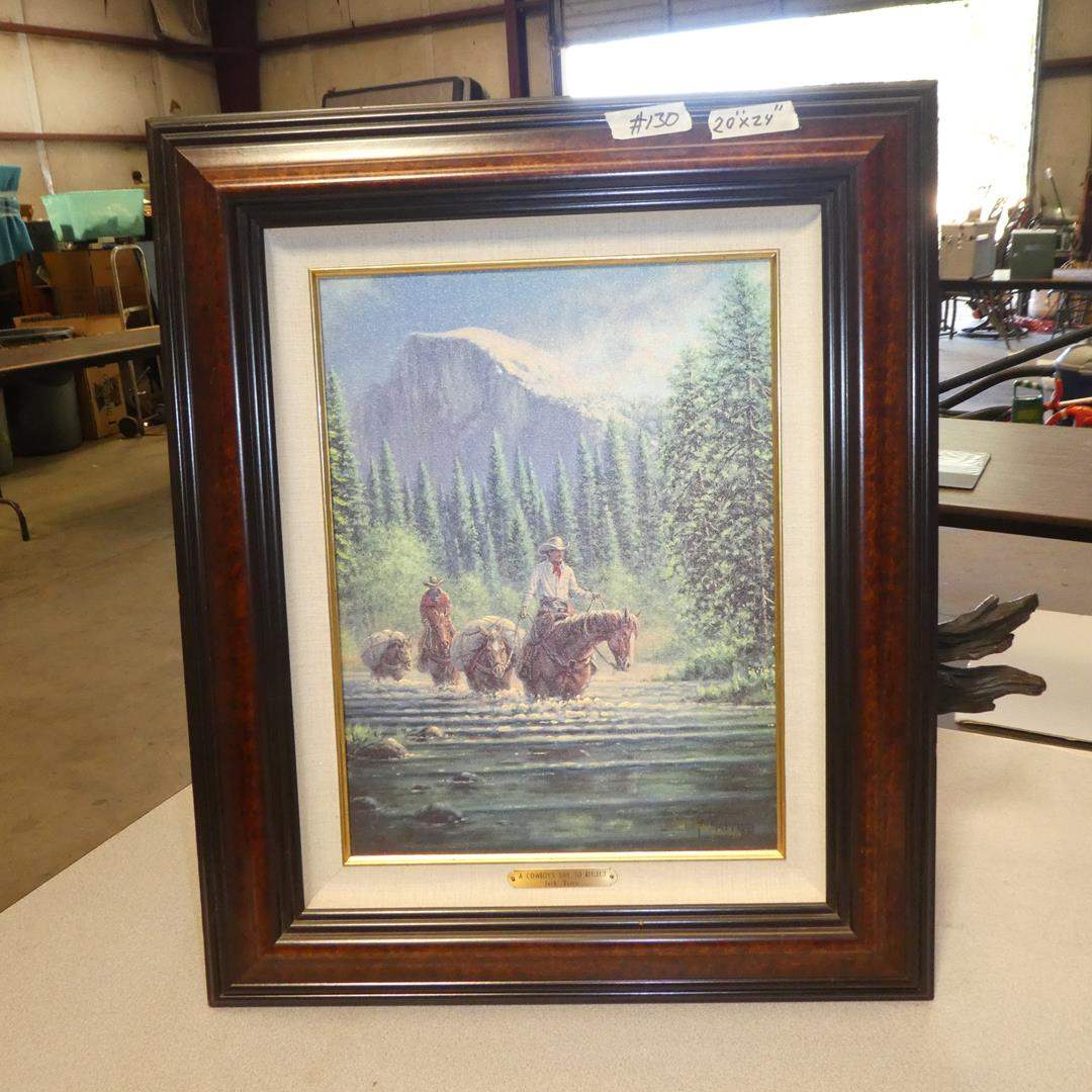 """Lot # 130 - Framed Signed Number Hand Painted Canvas Limited Edition Print """"A Cowboy's Time To Reflect"""" by Jack Terry 049/750 (main image)"""