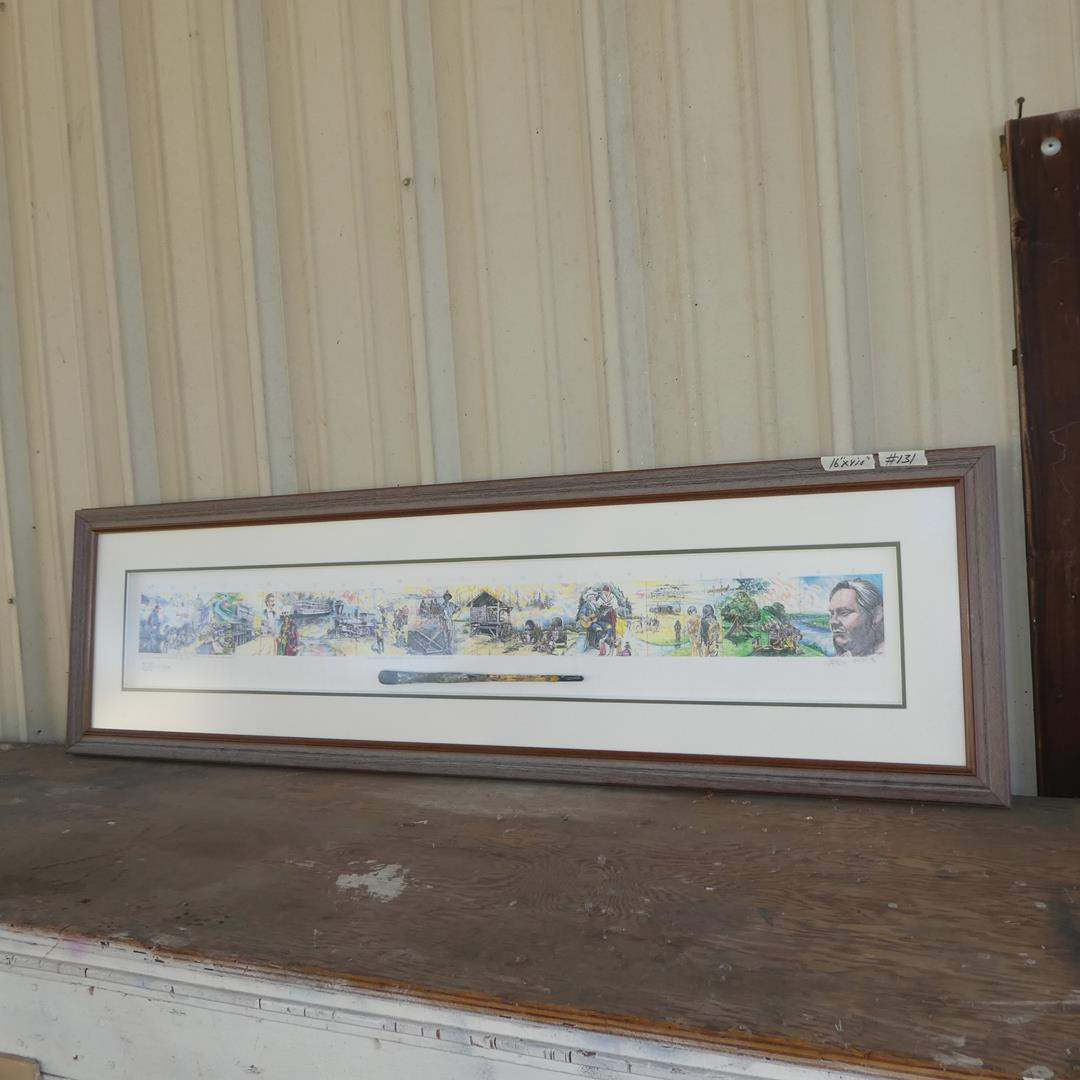 Lot # 131 - Framed Signed Numbered Combined Artist's Print w/Applied Paintbrush  (main image)