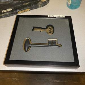 Lot # 133 - Two Professionally Framed Large Vintage Keys