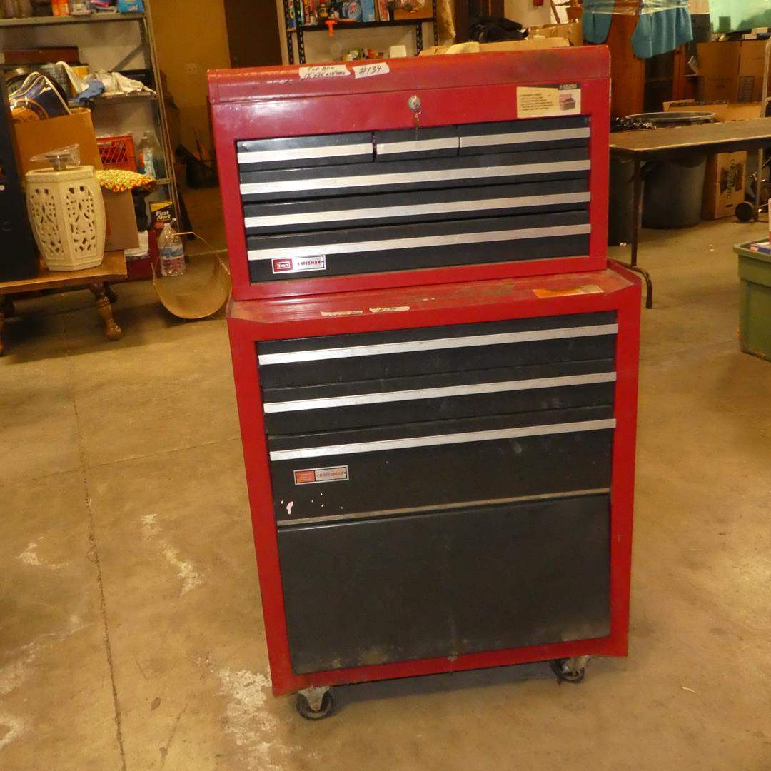Lot # 134 - Sears Craftsman 2 Piece Tool Chest on Wheels w/Keys (Needs Cleaned) (main image)