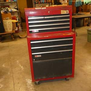 Lot # 134 - Sears Craftsman 2 Piece Tool Chest on Wheels w/Keys (Needs Cleaned)