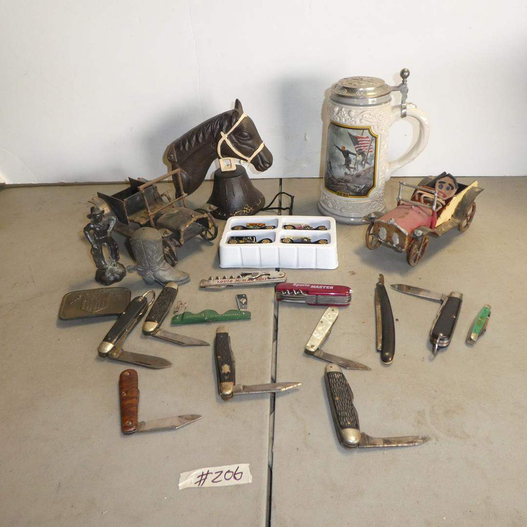 Lot # 206 - Horse Bell, Germany Beer Stein, Vintage Pocket Knives & More (main image)