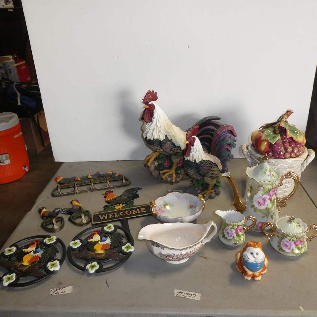 Lot # 207 - Metal Rooster Trivets, Hooks, Resin Rooster, Fitz & Floyd Jam Jar, Lefton Tea Set & Gravy Boat (main image)