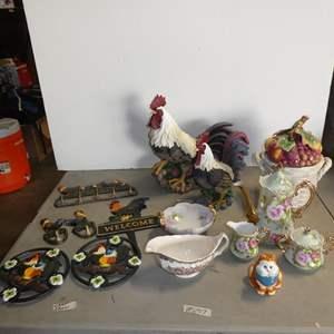 Lot # 207 - Metal Rooster Trivets, Hooks, Resin Rooster, Fitz & Floyd Jam Jar, Lefton Tea Set & Gravy Boat