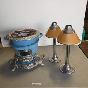 Lot # 208 - Antique Oil Burning Enameled Porcelain Stove/Burner & Pair Vintage Candle Holders
