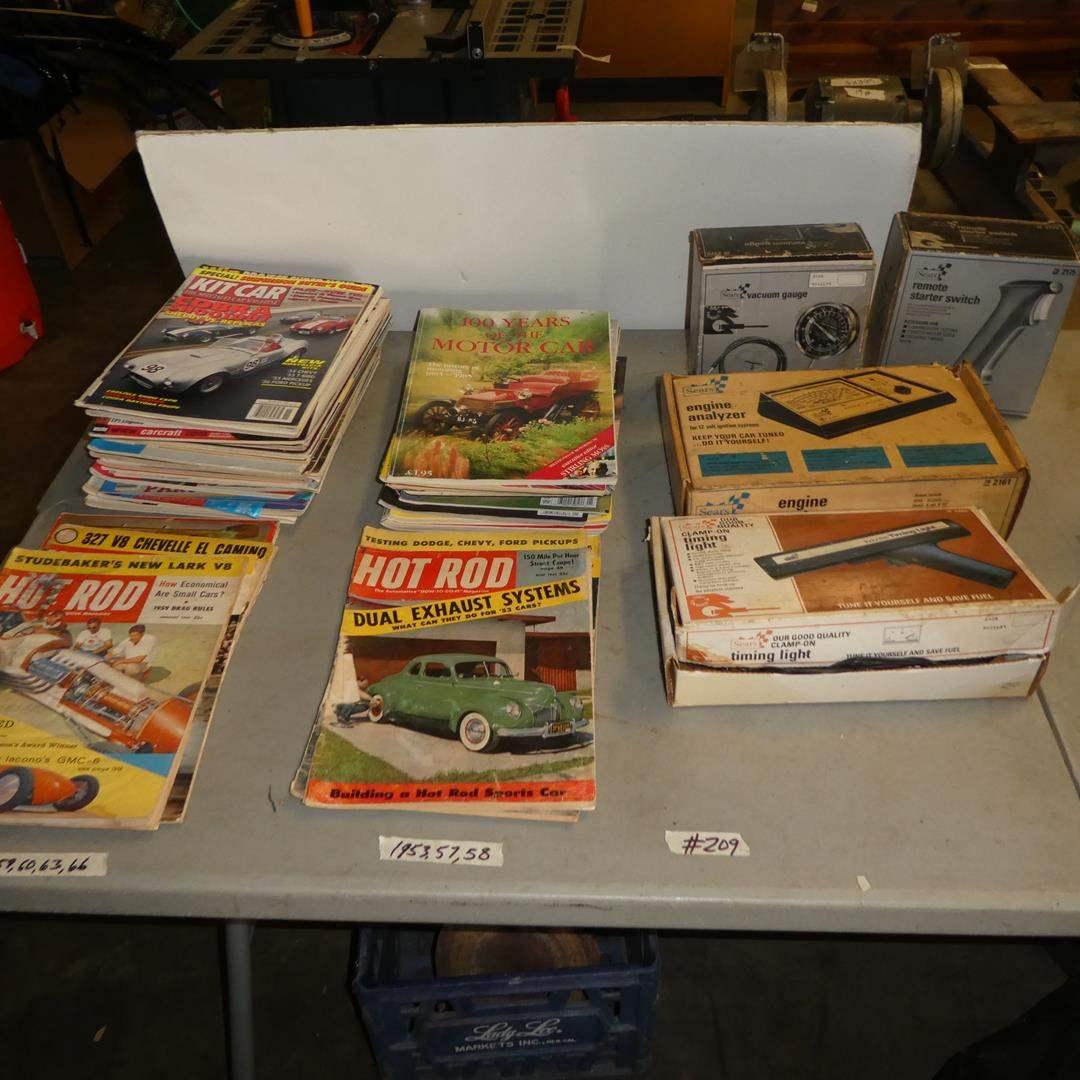 Lot # 209 - Sears Vacuum Gauge, Engine Analyzer, Vintage Hot Rod & Other Car Magazines  (main image)