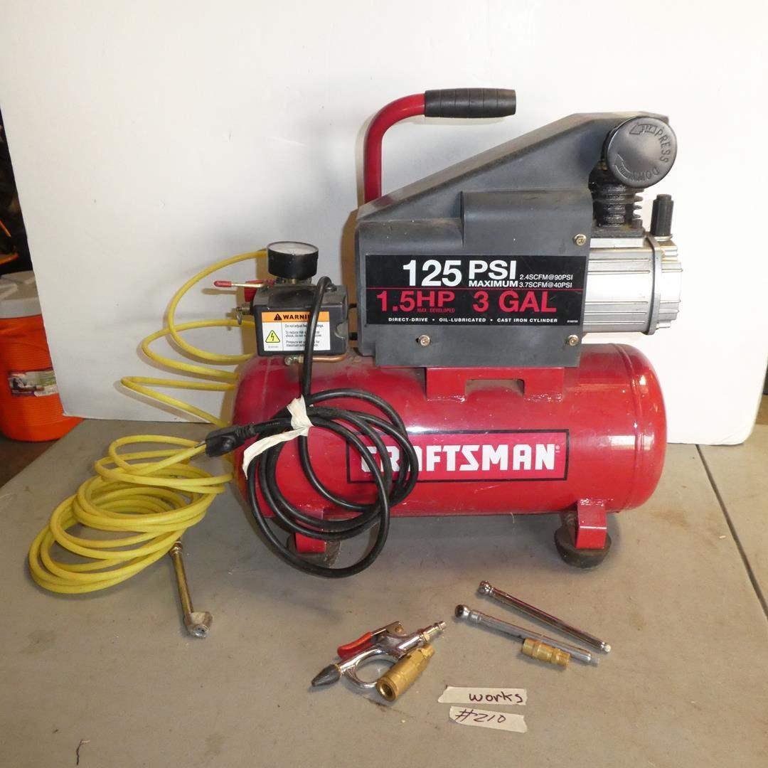 Lot # 210 - Craftsman 1.5 HP 3 Gallon Portable Air Compressor 125 PSI (main image)