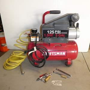 Lot # 210 - Craftsman 1.5 HP 3 Gallon Portable Air Compressor 125 PSI