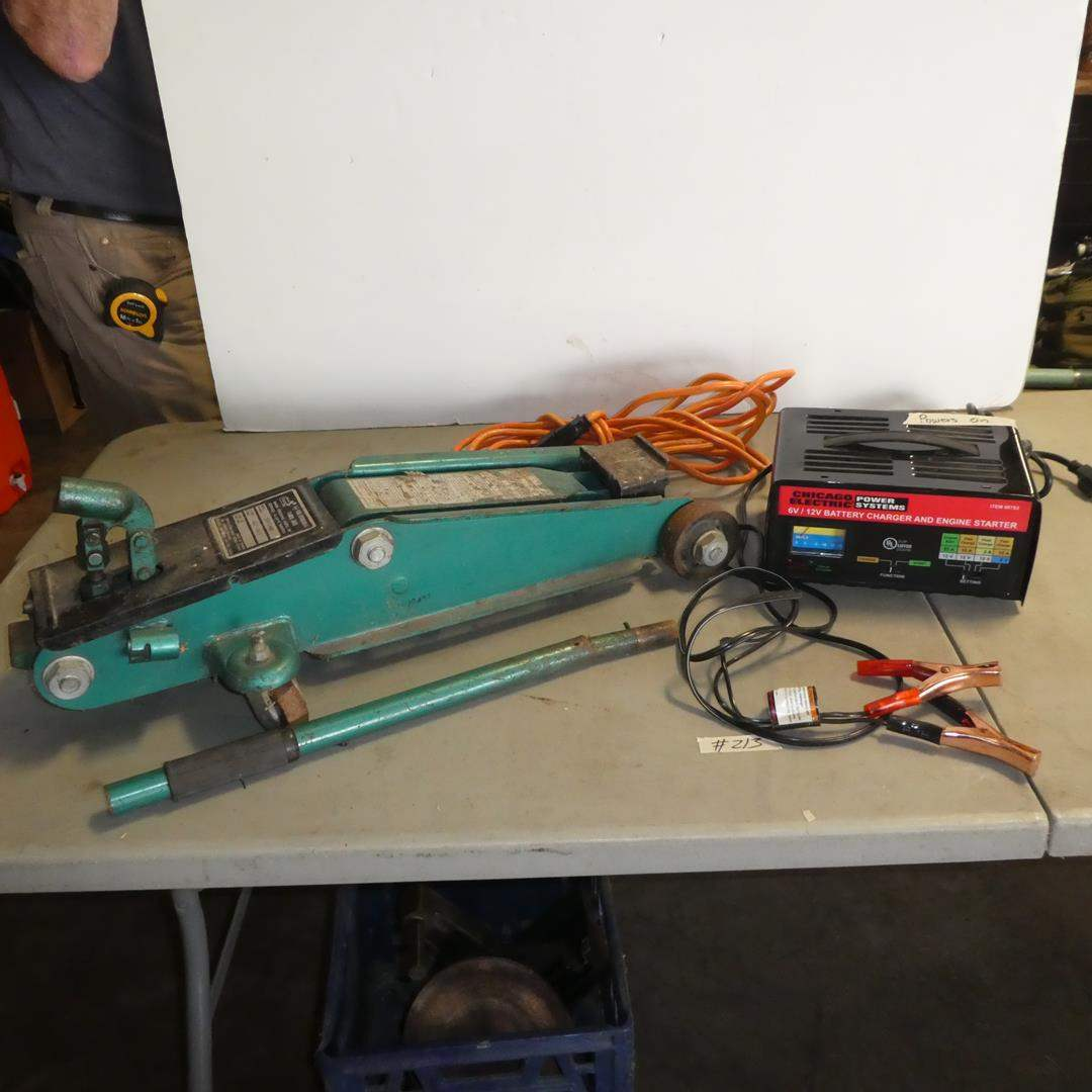 Lot # 213 - Sears 1½ Ton Hydraulic Floor Jack & Chicago Electric Battery Charger/Engine Starter (Powers On) (main image)