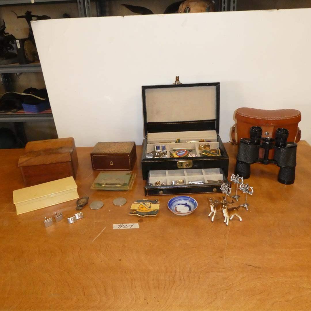Lot # 214 - Men's Cufflinks, Tie Bars, 1954 Coin Money Clip, Binoculars, Jewelry Boxes & More (main image)