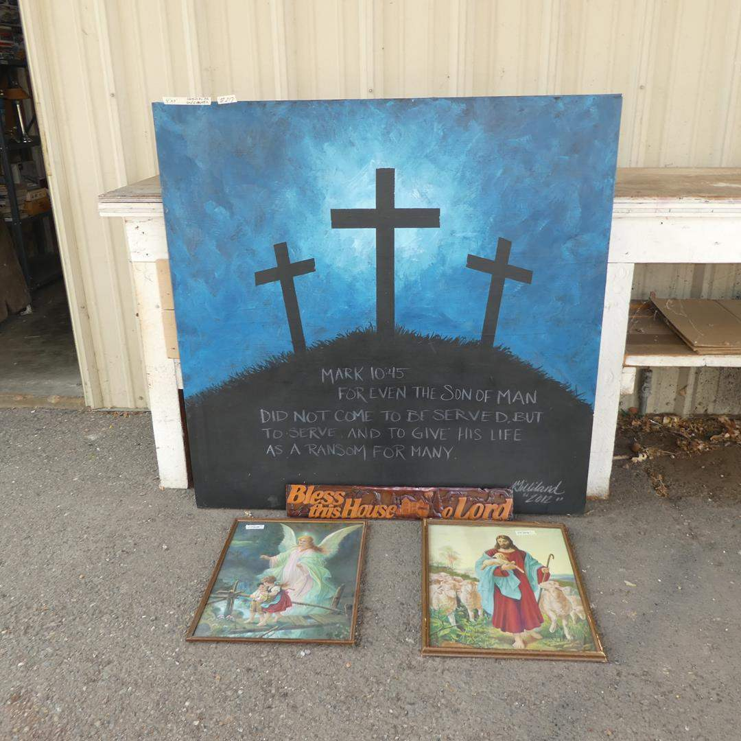 Lot # 217 - Large Religious Canvas, Vintage Prints & Mahogany Bless This House Sign (main image)