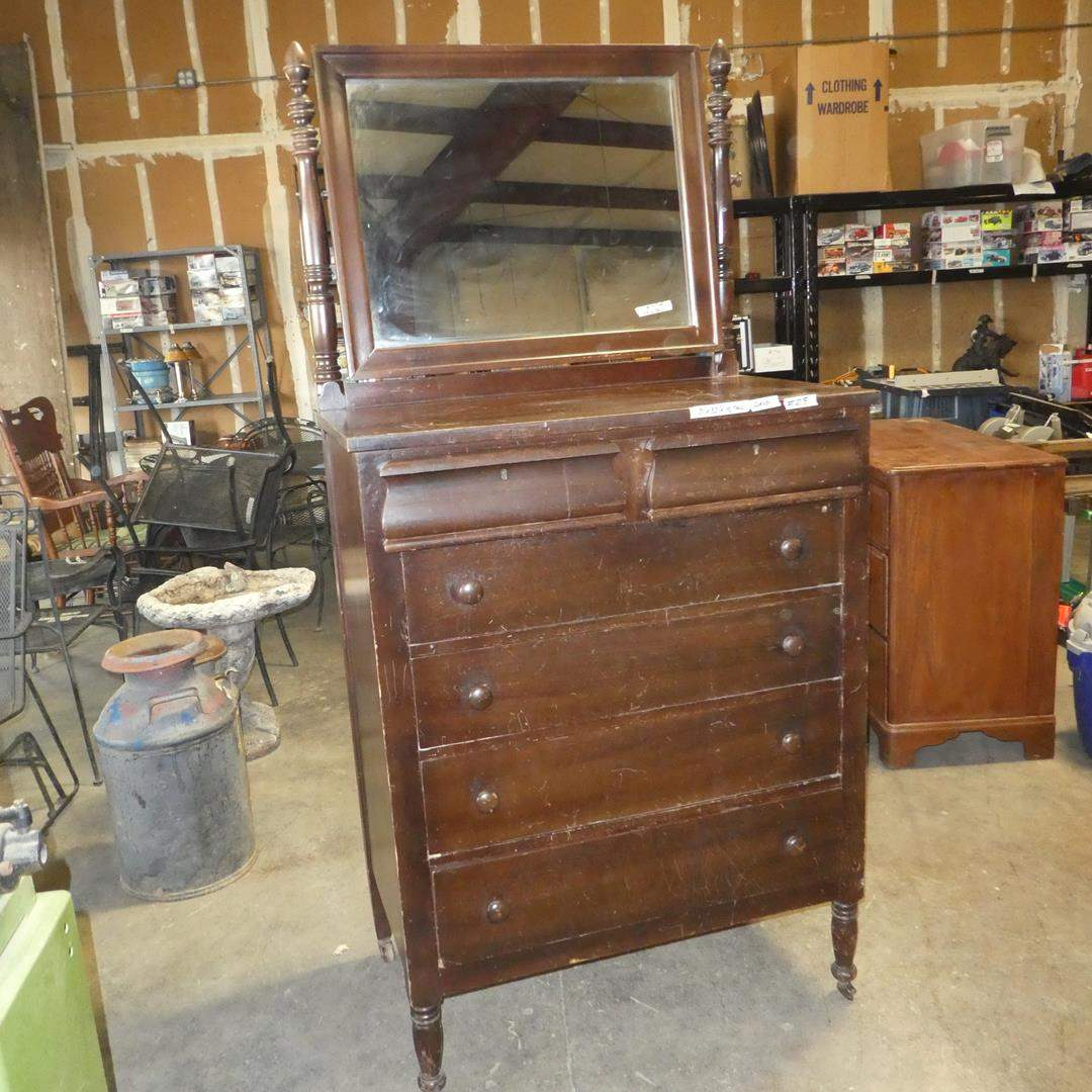 Lot # 218 - Vintage/Antique 5 Drawer Dresser w/Mirror on Casters (Dovetailed Drawers) (main image)