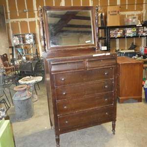 Lot # 218 - Vintage/Antique 5 Drawer Dresser w/Mirror on Casters (Dovetailed Drawers)