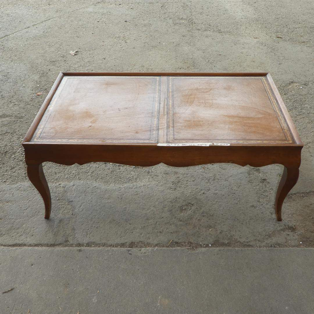 Lot # 228 - Vintage Leather Top Coffee Table (main image)