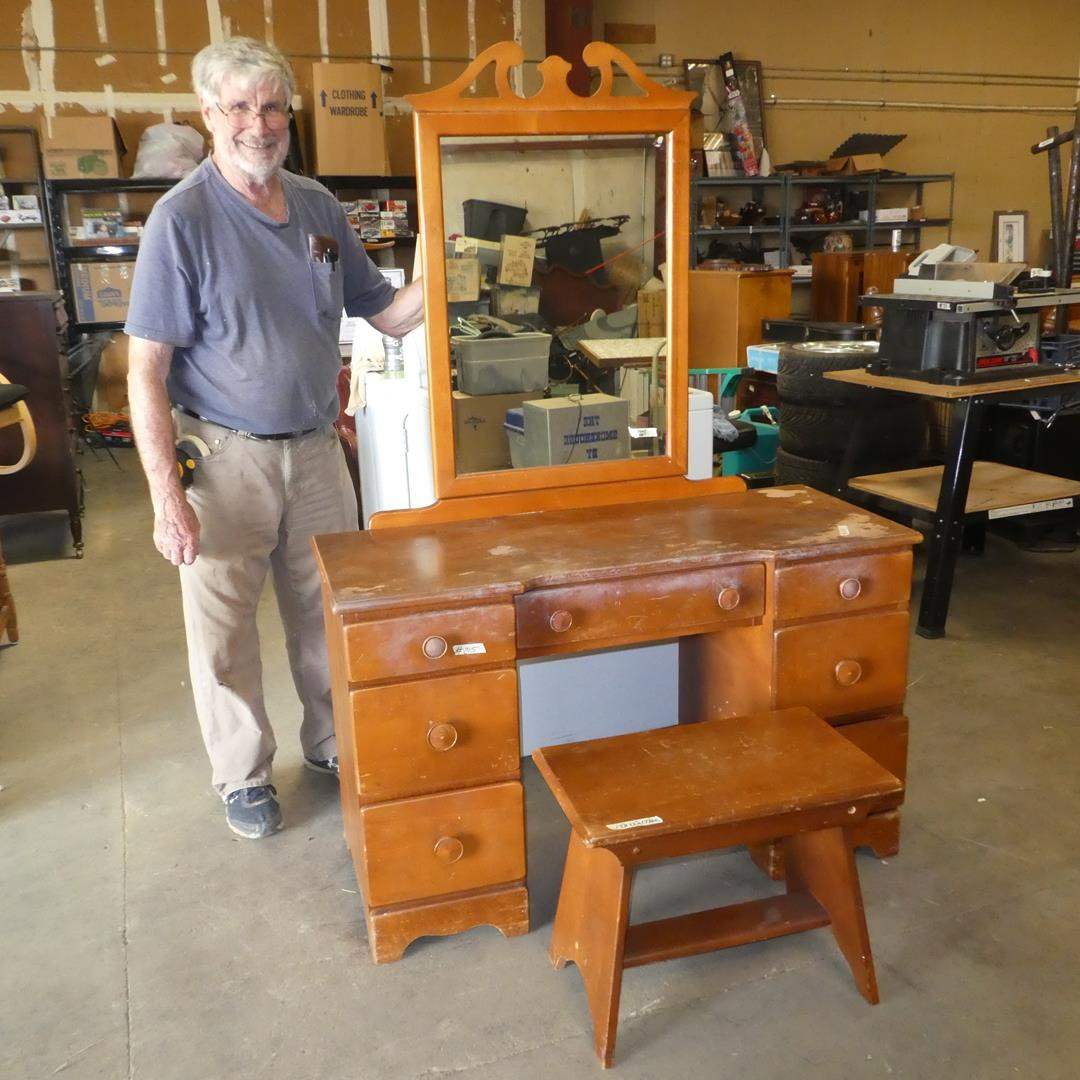 Lot # 215 - Vintage Wooden Vanity w/Mirror & Stool - Top shows some wear - See pics (main image)