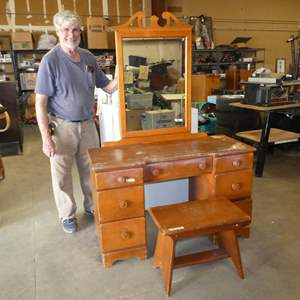 Lot # 215 - Vintage Wooden Vanity w/Mirror & Stool - Top shows some wear - See pics