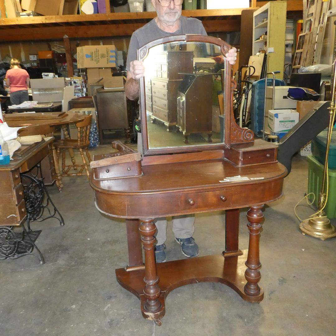 Lot # 235 - Antique/Vintage Solid Wood Vanity/Writing Desk on Casters w/Mirror & Dovetailed Drawers (For Restoration) (main image)